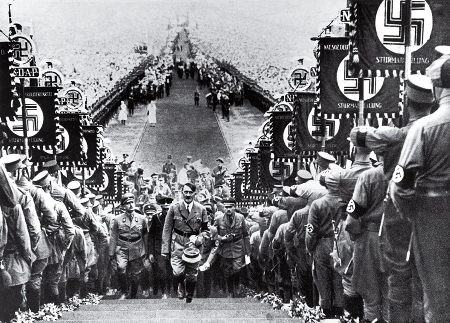 Hitler at a Nazi Party Rally Heinrich Hoffmann 1934