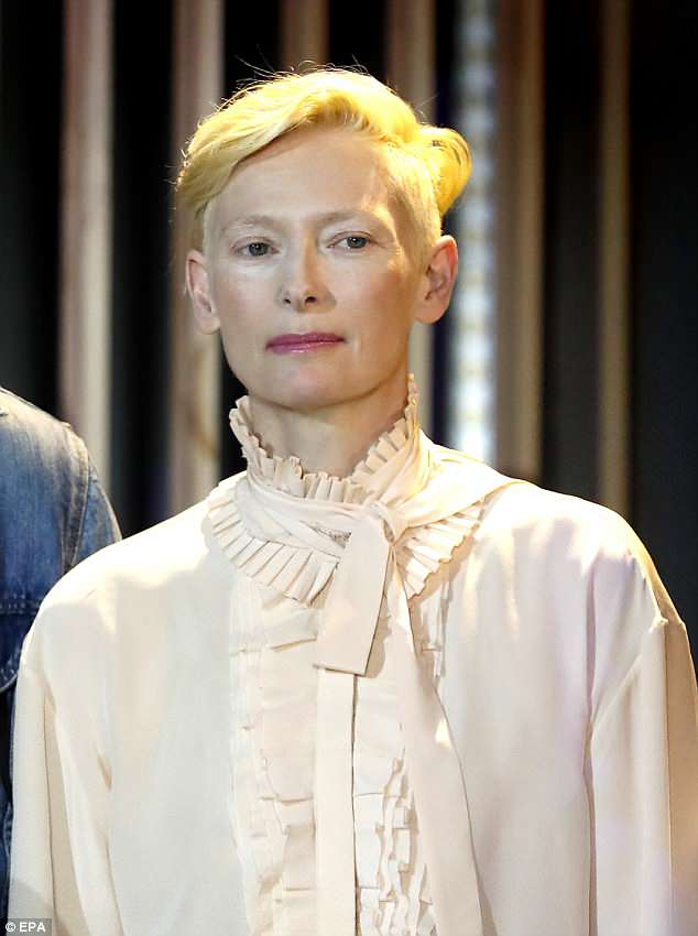 Chic: Tilda Swinton was putting on a stylish display when she attended the 33rd International Festival of Fashion and Photography in Hyeres, France on Sunday