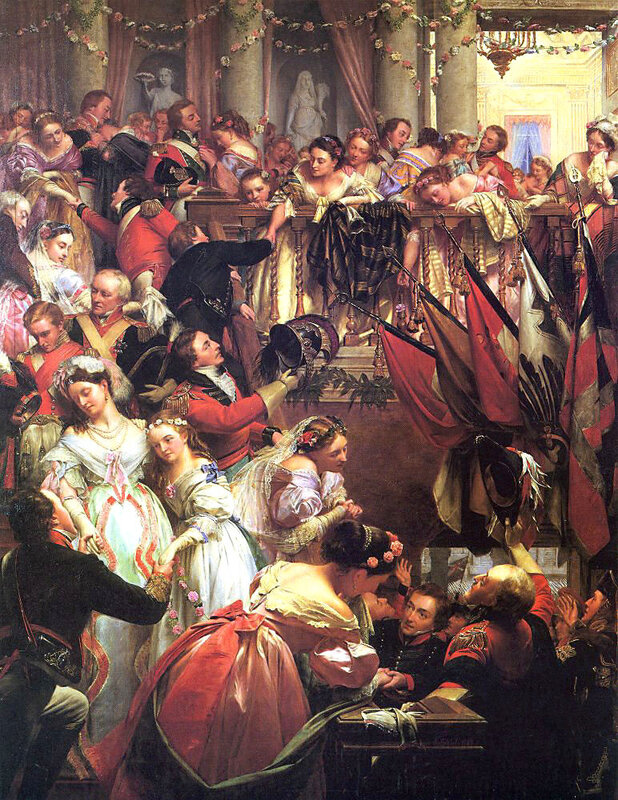 Before Waterloo  by Henry O Neil, depicting officers departing from the Duchess of Richmond s ball.jpg