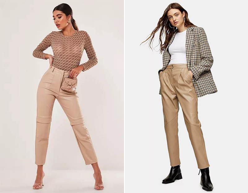 сочетание кожаных брюк